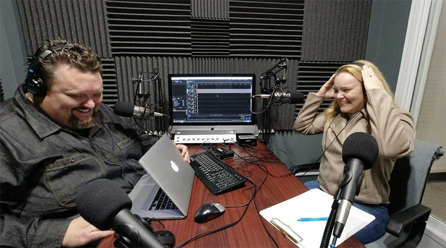 Greg Windle abd Kate Rigmin in the CAM Podcasting Booth